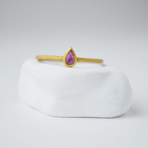 Gold Plated With Rubi Stone Drop Ring