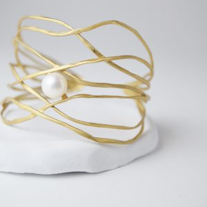 Gold Plated Branched Pearl Bracelet