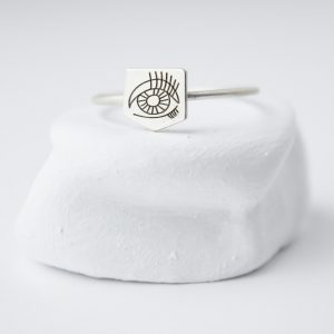 Sterling Silver WIth Rectangle Eye Ring