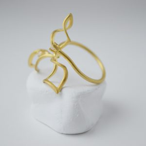 Gold Plated Weather Vane With Zircon Stone Ring
