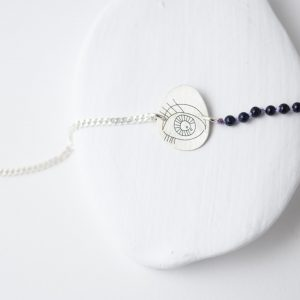 Sterling Silver Oval Eye Stone Bracelet