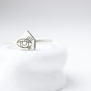 Sterling Silver WIth Triangle Eye Ring