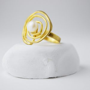 Gold Plated Full Spiral With Pearl Ring
