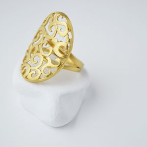 Gold Plated Oval Baroc Ring