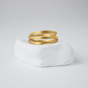 Gold Plated Assimetrical Spiral Matte Ring