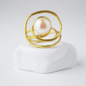 Gold Plated Spiral Pearl Ring