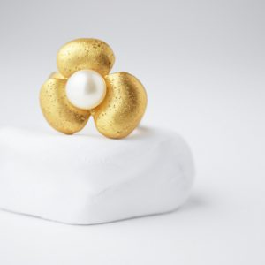 Gold Plated Flower With Pearl Ring