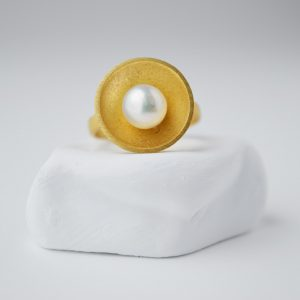 Gold Plated Round With Pearl Ring