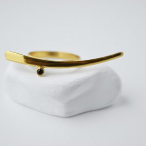 Gold Plated Sword With Onix Stone Ring