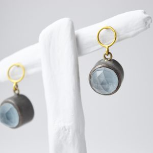 Oxidized Sterling Silver Topaz Gem Stone With Gold Earrings