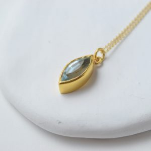 Sterling Silver Eye-Shaped Gold Plated Topaz Necklace