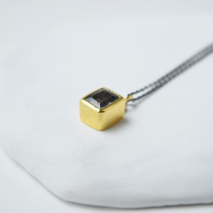 Sterling Silver Squared Gold Plated Topaz Necklace