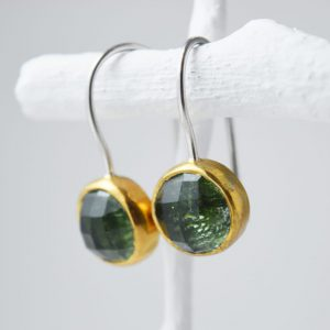 Gold Turmaline Gem Earrings