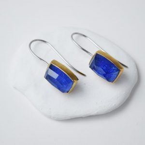 Sterling Silver Lapis Lazuli Gem Stone With Gold Earrings