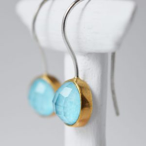 Sterling Silver Turquoise Gem Stone With Gold Earrings