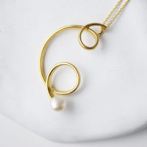 Sterling Silver Freshwater Pearl Two Twists Gold Plated Necklace