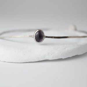 Sterling Silver Bracelet With Two Garnet Gems