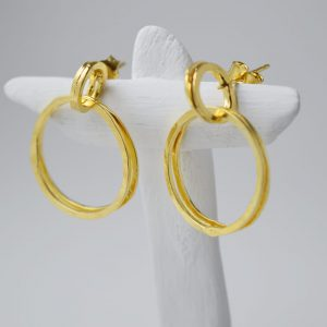 Sterling Silver Two Rings Gold Plated Earrings