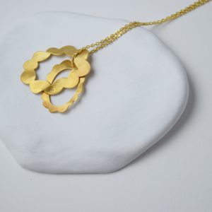 Sterling Silver Brushed Two Flowers Gold Plated Necklace
