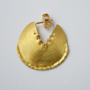 Sterling Silver Ancient Design Round Gold Plated Earrings