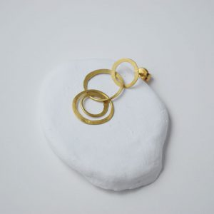 Sterling Silver Gold Plated 3 Circles Chain Earrings