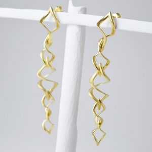 Sterling Silver 8 Twists Gold Plated Earrings