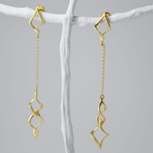 Sterling Silver Twirl Chain Gold Plated Earrings