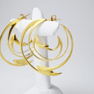 Sterling Silver Light Ray Spiral Gold Plated Earrings
