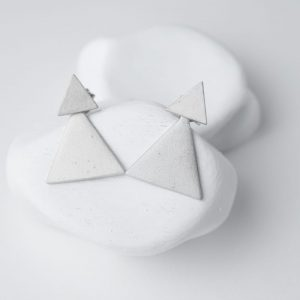 Sterling Silver Minimalist Triangles Stud Earrings