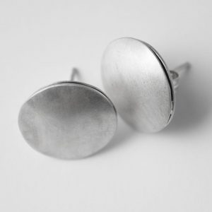 Sterling Silver Ancient Style Round Large Stud Earrings