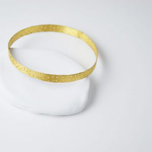 Sterling Silver With Dots Gold Plated Bracelet
