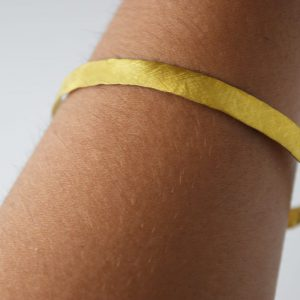 Sterling Silver Brushed Hammered Gold Plated Bracelet
