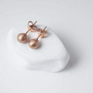 Sterling Silver Minimalist Sphere Rose Gold Plated Earring