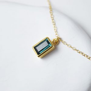 Sterling Silver Rectangle Turmaline Gem Gold Plated Necklace