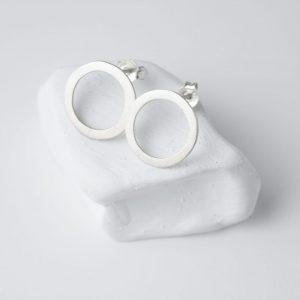 Sterling Silver Minimalist Circles Large Stud Earrings