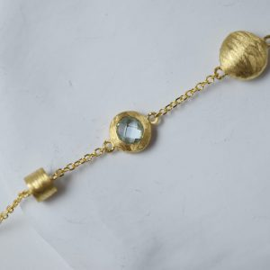 14K Gold Acquamarine Bracelet