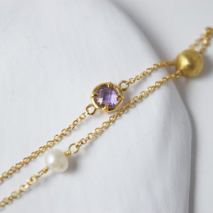 14 K Gold Amethyst Freshwater Pearl Bracelet