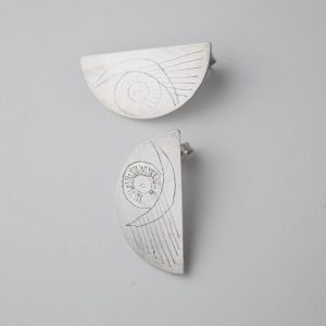 Sterling Silver Half Moon Eye Earrings