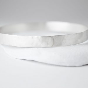 Sterling Silver Brushed Hammered Bracelet