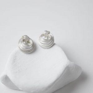 Sterling Silver Rococo Stud Earrings