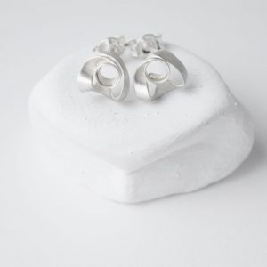 Sterling Silver Rococo Flower Stud Earrings