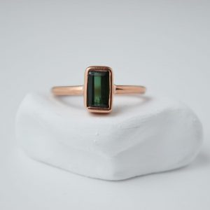Sterling Silver Rectangle Tourmaline Gem Rose Gold Plated Ring