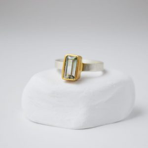 Sterling Silver Tourmaline Gem Matte Gold Plated Ring