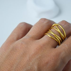 Sterling Silver 6 Loops Matte Gold Plated Ring