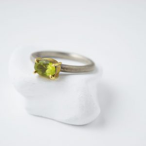 Sterling Silver Peridot Gem Stone Gold Plated Setting Ring