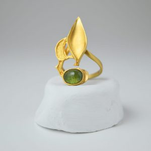 Sterling Silver Olive Leaf Tourmaline Gem Gold Plated Ring