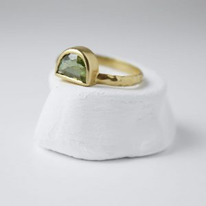 Sterling Silver Half Moon Tourmaline Gem Gold Plated Ring