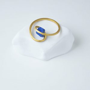 Gold Plated Twist Druze Lapis Lazuli Ring