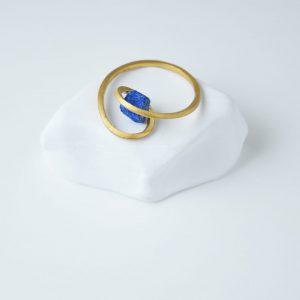 Gold Plated Twist Druze Lapis Lazuli Ring