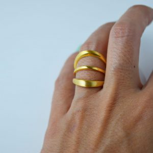 Sterling Silver Crescent 3 Loops Gold Plated Ring